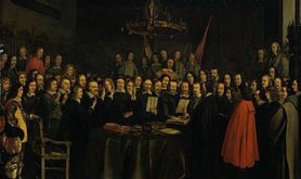 Ratification of the Peace of Münster between Spain and the Dutch Republic in the town hall of Münster, 15 May 1648.