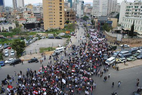 Thousands of Christians and Muslims attend march for secularism in Beirut. Dana Ballout:Demotix. All rights reserved.jpg