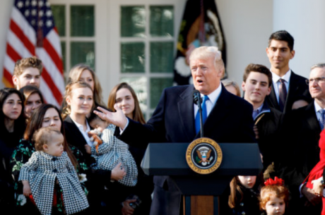 Trump speaks to March for Life participants and pro-life leaders in Washington DC, January 2018.