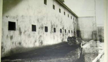 Sukhanovskaya Prison in a dreary black and white image.