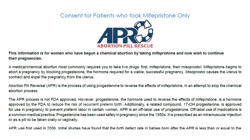 APR consent form sent to our undercover reporters by Heartbeat International