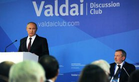 Putin addresses journalists, analysts and opinion-shapers at the 2014 Valdai Club Summit.