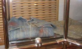 Shirt of a Budyonnovsk resident killed in the siege, on display at an exhibition in the city museum.