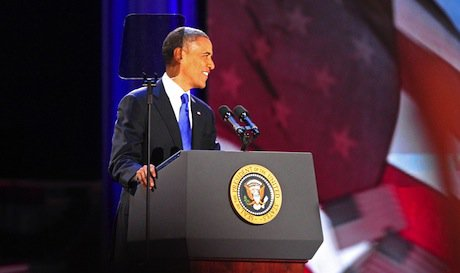 Obama's victory speech in Chicago, Illinois. Demotix/Laura Fong. All rights reserved.