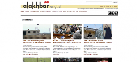 Screenshot from Al-Akhbar English's Features page