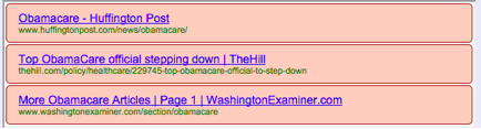 Figure 3: Bobble displays a user's Google search results that only they received (in yellow) and results that they have missed b