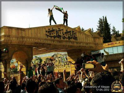 Aleppo university protest, Spring 2012. Courtesy of Syria Freedom Forever