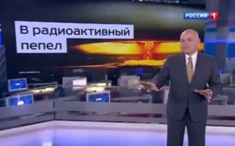 Russian television presenter Dmitry Kiselyov reminds viewers of Russia's nuclear deterrent.