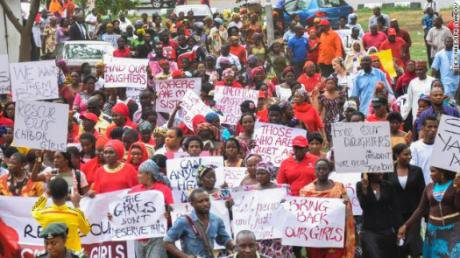 Protesters with the #Bringbackoutgirls campaign in Nigeria. (Photo:Turner)