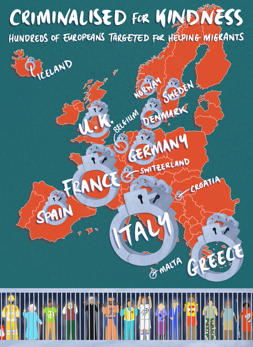 Criminalised for Kindness infographic - hundreds of Europeans targeted for helping migrants