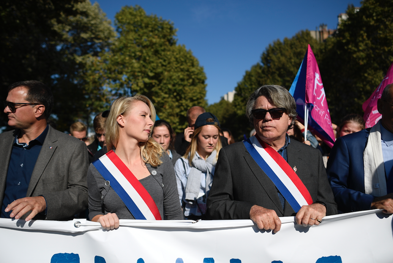 French far-Right leaders Marion Maréchal-Le Pen and Gilbert Collard at a demonstration of La Manif Pour Tous, 2016
