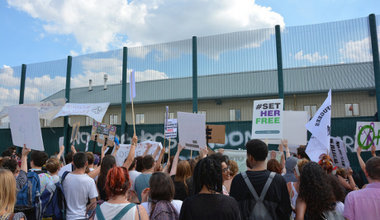 Protesters outside Yarl's Wood detention centre, Bedfordshire 2015.