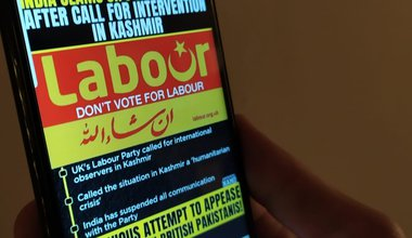 Phone showing anti-Labour message from Hindu group