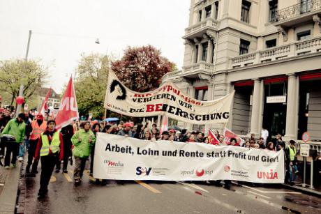 Workers marching on May Day in Zurich