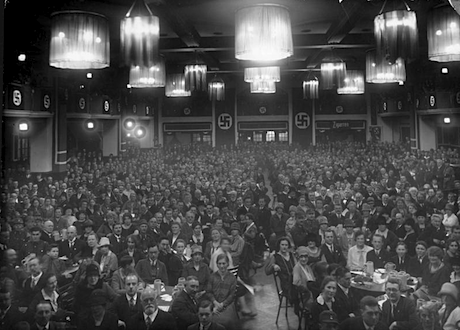 A meeting of the Nazi party in Munich, ca. 1923. Bundesarchiv/Heinrich Hoffmann. Some rights reserved.