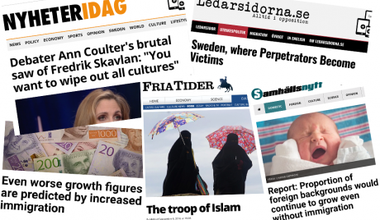 Headlines from the four leading Swedish anti-immigration right-wing sites.