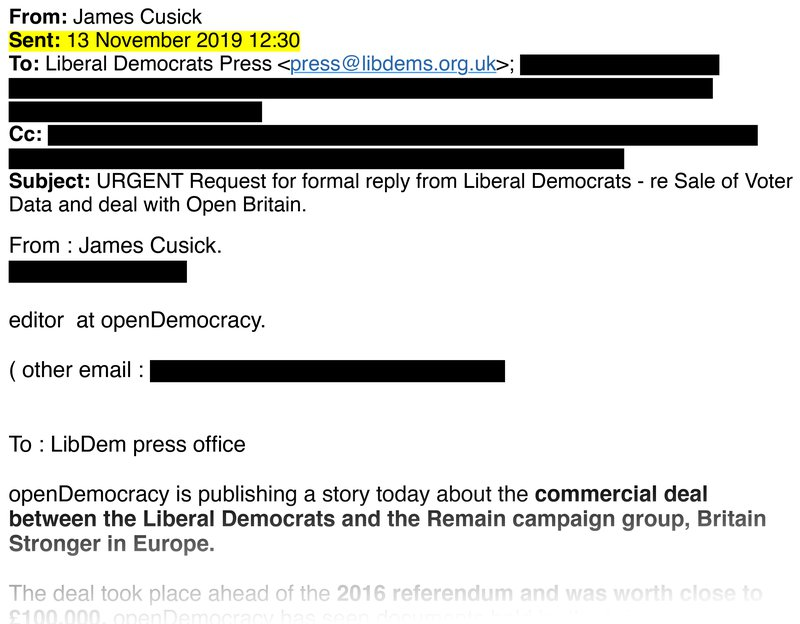 The request for comment that we sent the Lib Dems on 13 November 2019
