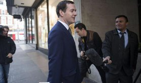 George Osborne arriving at the Evening Standard offices.
