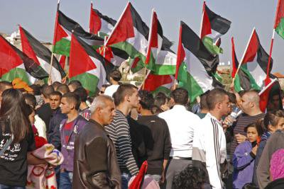 Palestinian national flags at the commemoration of Land Day at Sakhnin, northern Israel Palestine, in March 2012