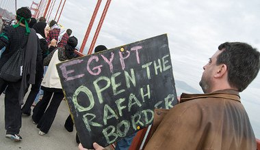 Protest at Rafah checkpoint