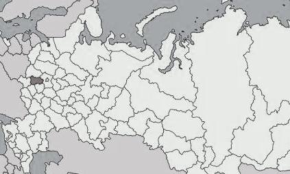 Oryol oblast on the Russia's map