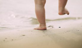 Toddler's first steps.