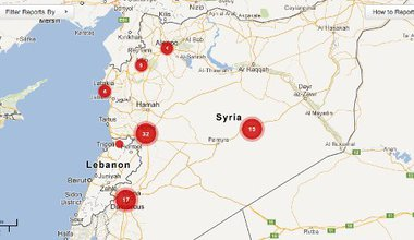 Crowd-map using Ushahidi technology and showing instances of sexual violence in Syria