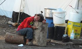 Girl in camp for internally displaced in mountains of Latakia