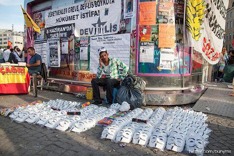 Selling Guy Fawkes masks in Istanbul