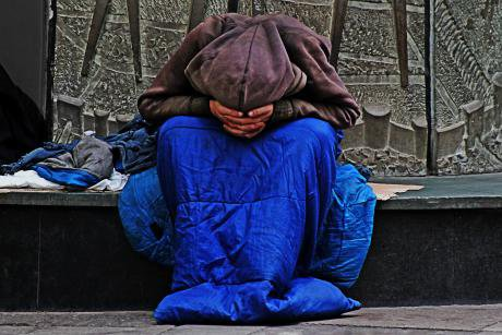 A homeless person