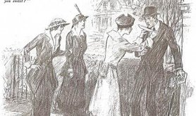 Drawing of a woman 'jabbing a white feather' into a man's waistcoat with two women looking on.