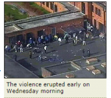 BBC, March 2007. Aerial photograph of 'riot' at Campsfield.